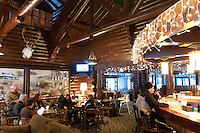 The bar area of the Keweenaw Mountain Lodge in Copper Harbor Michigan in winter.