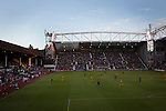 Heart of Midlothian 1 Birkirkara 2, 21/07/2016. Tynecastle Park, UEFA Europa League 2nd qualifying round. A view of the action from the Roseburn stand at the start of the second-half at Tynecastle Park, Edinburgh as Heart of Midlothian played Birkirkara of Malta in a UEFA Europa League 2nd qualifying round, second leg. The match ended in victory for the Maltese side by 2-1 and they progressed on aggregate after the first match had ended 0-0. The game was watched by 14301 spectators, including 56 visiting fans of Birkirkara. Photo by Colin McPherson.