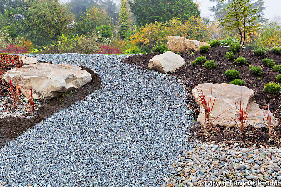 Landscape Boulders Tacoma : Garden walk new plantings in side yard private professionally