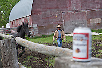 A rancher is seen by a Percheron horse on a farm in Saint-Laurent, Manitoba Sunday May 29, 2011.