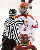 Bob Bernard, Adam Clendening (BU - 4) - The visiting Boston College Eagles defeated the Boston University Terriers 3-2 to sweep their Hockey East series on Friday, January 21, 2011, at Agganis Arena in Boston, Massachusetts.