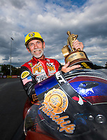Sep 18, 2016; Concord, NC, USA; NHRA pro stock motorcycle rider Chip Ellis celebrates after winning the Carolina Nationals at zMax Dragway. Mandatory Credit: Mark J. Rebilas-USA TODAY Sports