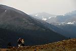 Couple hiking above Tioga Pass