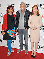 Clare Stewart, Paul Verhoeven and Isabelle Huppert at the &quot;Elle&quot; 60th BFI London Film Festival Official Competition screening, The Embankment Garden Cinema, Villiers Street, London, England, UK, on Saturday 08 October 2016.<br /> CAP/CAN<br /> &copy;CAN/Capital Pictures /MediaPunch ***NORTH AND SOUTH AMERICAS ONLY***