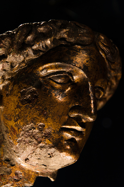 The head of an 2000-year-old statue of Sulis Minerva at the Roman Baths Museum, Bath, UK, December 8, 2015. The UNESCO World Heritage city of Bath is famed for its hot spa that dates back to Roman times and for its Georgian architecture. For much of its history the city has been a popular holiday resort. It is the only hot spa in the UK.