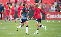 02 June 2013: The U.S Women's National Soccer Team take to the pitch for warm-ups during an International Friendly soccer match between the U.S. Women's National Soccer Team and the Canadian Women's National Soccer Team at BMO Field in Toronto, Ontario.<br /> The U.S. Women's National Team Won 3-0.