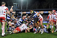 Dominic Day of Bath Rugby celebrates scoring a try in the first half. Aviva Premiership match, between Bath Rugby and Gloucester Rugby on February 5, 2016 at the Recreation Ground in Bath, England. Photo by: Patrick Khachfe / Onside Images