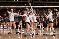 Stanford, CA -- November 10, 2016. Stanford Cardinal Women's Volleyball vs. USC. Final score Stanford 3, USC 1.