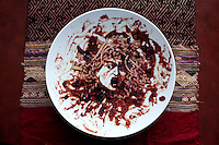A plate by Vik Muniz. One of many pieces in Dinh Q. Le's collection of other artists...Dinh Q. Le is a Vietnamese American fine arts photographer best known for his woven-photographs. Le uses traditional weaving techniques to combine mournful images from the Vietnam War with a sort of colorful fantasy. Le now works from his home in Ho Chi Minh City, Vietnam.