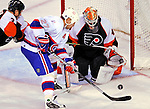 15 November 2008:  Philadelphia Flyers' goaltender Martin Biron makes a save against Montreal Canadiens' right wing forward Alexei Kovalev from Russia in the second period at the Bell Centre in Montreal, Quebec, Canada.  The Canadiens, celebrating their 100th season, fell to the visiting Flyers 2-1. ***Editorial Sales Only***..Mandatory Photo Credit: Ed Wolfstein Photo *** Editorial Sales through Icon Sports Media *** www.iconsportsmedia.com