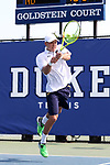 DURHAM, NC - APRIL 14: Notre Dame's Brendon Kempin. The Duke University Blue Devils hosted the University of Notre Dame Fighting Irish on April 14, 2017, at Ambler Tennis Stadium in Durham, NC in a Division I College Men's Tennis match. Duke won the match 4-3.