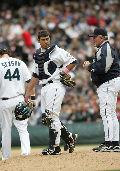 13 May 2007: Seattle Mariners #15 Jamie Burke waits on the mound with Seattle Mariners manager Mike Hargrove during the Mariners 2-1 win over the  New York Yankees at Safeco Park in Seattle, Washington.