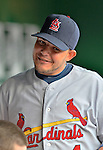 2 September 2012: St. Louis Cardinals catcher Yadier Molina smiles in the dugout during a game against the Washington Nationals at Nationals Park in Washington, DC. The Nationals edged out the visiting Cardinals 4-3, capping their 4-game series with three wins. Mandatory Credit: Ed Wolfstein Photo