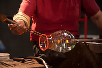 Master glass artist, Glass Studio, making a glass pitcher at the Wheaton Arts and Cultural Center, Millville, New Jersey