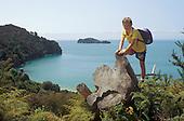 Boy trekking near beach
