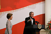 WASHINGTON DC - JANUARY 20: US President George W. Bush and his wife Laura at the Texas/ Wyoming inaugural ball January 20, 2005 in Washington DC. (photo by Anthony Suau)