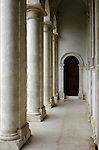 Hallway leading to a door. Greek architecture. Limassol, Cyprus.