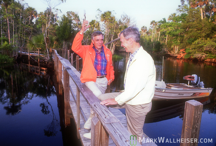 Lawton Chiles, with his soon to be running mate Buddy MacKay, during a planning session at the Econfina Fish Camp on April 18, 1990, prior to his first run for Governor for Florida.