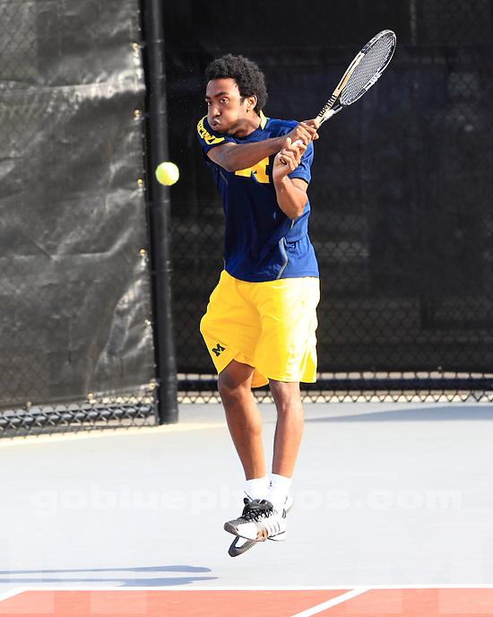 The University of Michigan men's tennis team beat Indiana, 4-2, in the Big Ten Championship quarterfinals at the Buckeye Varsity Tennis Center in Columbus, Ohio, on April 6, 2013.