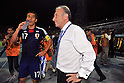 (L-R) Makoto Hasebe,   Alberto Zaccheroni (JPN), SEPTEMBER 6, 2011 - Football / Soccer : Japan head coach Alberto Zaccheroni talks with Makoto Hasebe after the FIFA World Cup Brazil 2014 Asian Qualifier Third Round Group C match between Uzbekistan 1-1 Japan at Pakhtakor Markaziy Stadium in Tashkent, Uzbekistan. (Photo by Jinten Sawada/AFLO)