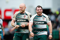 Dan Cole and Fraser Balmain of Leicester Tigers look on after the match. European Rugby Champions Cup quarter final, between Leicester Tigers and Stade Francais on April 10, 2016 at Welford Road in Leicester, England. Photo by: Patrick Khachfe / JMP