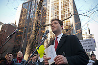 Reddit co-founder Alexis Ohanian speaks at the NY Tech Meetup group protest outside the offices of US Senators Kirsten Gillibrand and Charles Schumer in New York on Wednesday, January 18, 2012 concerning legislation related to online piracy. The demonstrators were against the proposed Stop Online Piracy Act (SOPA) and the Protect IP Act (PIPA) which they feel will allow US authorities to shutdown websites that are accused of online piracy without due process and threatens the freedom of the internet. (© Richard B. Levine)