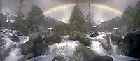 Yosemite National Park Lower Falls Waterfall, Rainbow, panorama