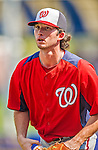 23 February 2013: Washington Nationals pitcher Erik Davis awaits the start of play prior to a Spring Training Game against the New York Mets at Tradition Field in Port St. Lucie, Florida. The Mets defeated the Nationals 5-3 in their Grapefruit League Opening Day game. Mandatory Credit: Ed Wolfstein Photo *** RAW (NEF) Image File Available ***
