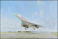 BNPS.co.uk (01202 558833)<br /> Pic DominicWinter/BNPS<br /> <br /> ***Please use full byline***<br /> <br /> Painting by Gerald Coulson of Concorde's first flight in Britain in 1969. <br /> <br /> The supersonic archive amassed by legendary Concorde test pilot Brian Trubshaw during his flying career is being sold by his family.<br /> <br /> The collection made by the late airman who was the first to fly the famous turbo-jet in Britain in 1969, includes all his log books covering his 30 years service.<br /> <br /> He went on to put Concorde through its paces, criss-crossing the globe at twice the speed of sound before the plane entered commercial service six years later.<br /> <br /> The archive is being sold by Dominic Winter Auctioneers, Glocs. on November 7th.