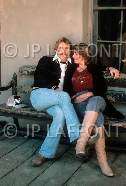 """Los Angeles, California - May 1979. Picture taken of Nick Nolte with his wife Sharon Haddad at his home, as he prepares for his role as Neal Cassady in """"Heartbeat"""". Nick Nolte (b. February 8, 1941) is an American Actor, who gained attention for his performance in Rich Man, Poor Man, in 1976, and who is now best known for his role in The Prince of Tides, where he won a Golden Globe Award."""