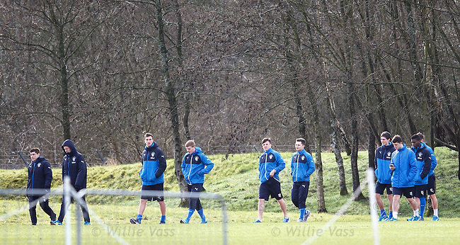 Rangers youths take a walk aroung the training complex to lossen off after playing yesterday