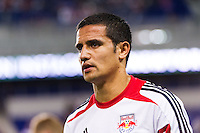 Tim Cahill (17) of the New York Red Bulls prior to playing Toronto FC. The New York Red Bulls defeated Toronto FC 4-1 during a Major League Soccer (MLS) match at Red Bull Arena in Harrison, NJ, on September 29, 2012.