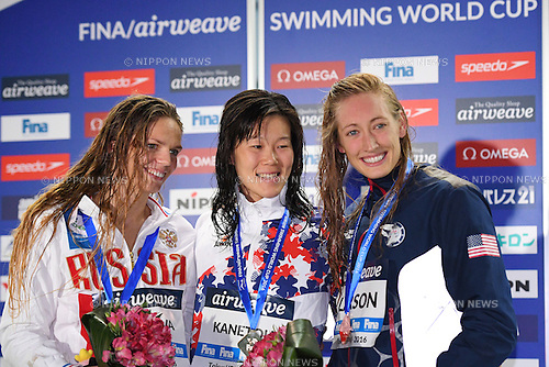 (L-R) Yuliya Efimova (RUS), Rie Kaneto (JPN), Breeja Larson (USA), <br /> OCTOBER 26, 2016 - Swimming : FINA Swimming World Cup Tokyo <br /> Women's 200m Breaststroke Award Ceremony <br /> at Tatsumi International Swimming Pool, Tokyo, Japan. <br /> (Photo by AFLO SPORT)