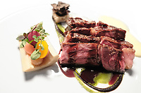 Modena, 23 February 2017 &ndash; The Ox rib-eye served with pickled vegetables,<br /> extra virgin olive oil potatoes and black truffle at Osteria Francescana, Modena, Italy. Photo Sydney Low