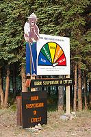 Tok wildfire index sign. Tok, Alaska, May, 2010.