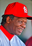 1 March 2009: St. Louis Cardinals' Hall of Famer Lou Brock chats in the dugout during a Spring Training game against the Florida Marlins at Roger Dean Stadium in Jupiter, Florida. The Cardinals outhit the Marlins 20-13 resulting in a 14-10 win for the Cards. Mandatory Photo Credit: Ed Wolfstein Photo