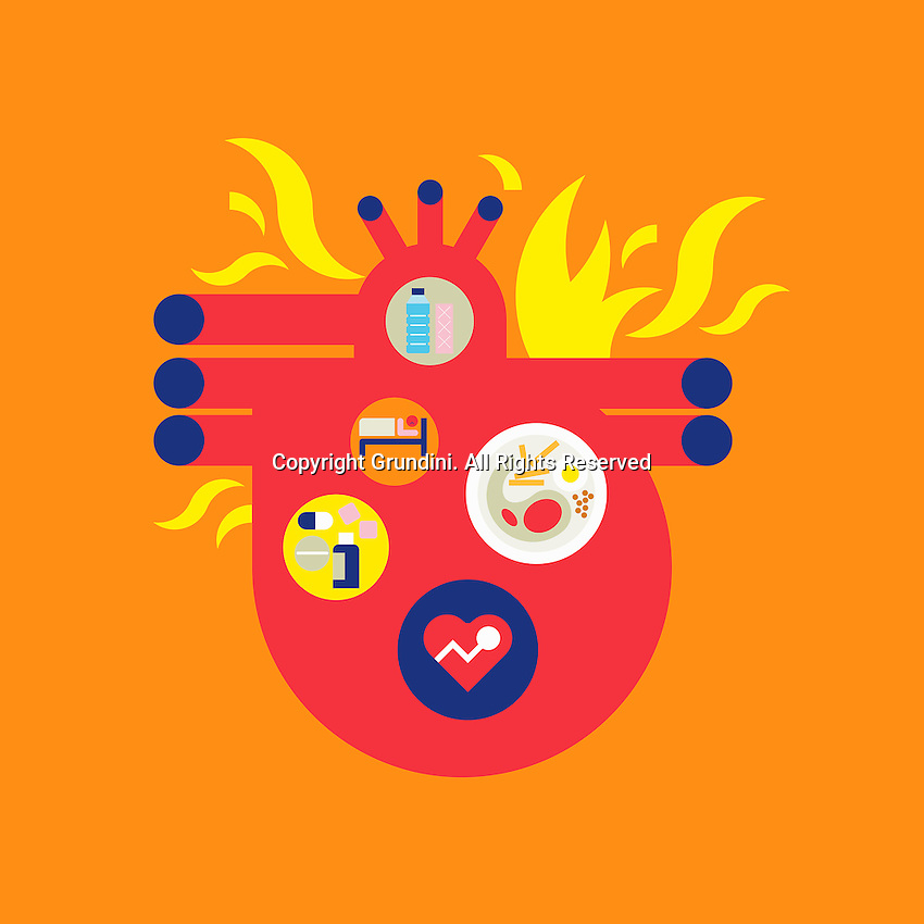 Abstract collage of a burning heart ExclusiveImage ExclusiveArtist