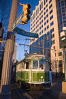 Memphis, Tennessee, February 2009. A trolley rides through Main Street. The historical center of Memphis is going through a metamorphosis while the old buildings are restored to their old glory. The city of Memphis is the place where Blues and Soul Music grew famous. Photo by Frits Meyst/Adventure4ever.com