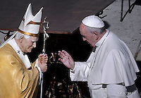 Pope Francis Blesses the statue of  St. Pope John Paul II.During of a weekly Jubilee Audience at St Peter's square in Vatican. November 12, 2016