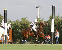 WELLINGTON, FL - APRIL 15:  Valiente's Pablo Spinacci blocks a shot on goal in the $100,000 World Cup Final, at the Grand Champions Polo Club, on April 15, 2017 in Wellington, Florida. (Photo by Liz Lamont/Eclipse Sportswire/Getty Images)