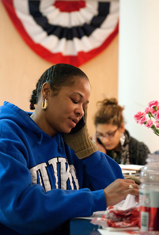 UNITED STATES - FEBRUARY 12:  Nicole Ikner, left, and Marissa Clark, work the phones at President Barack Obama's campaign office in Cleveland, Ohio. (Photo By Tom Williams/CQ Roll Call)