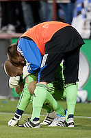 Jon Busch consoles Andrew Weber after the game. The Chicago Fire defeated the San Jose Earthquakes after going 5-4 on penalty kicks, after a 2-2 score in regulation during the US Open Cup at Buck Shaw Stadium in Santa Clara, California on May 24th, 2011.