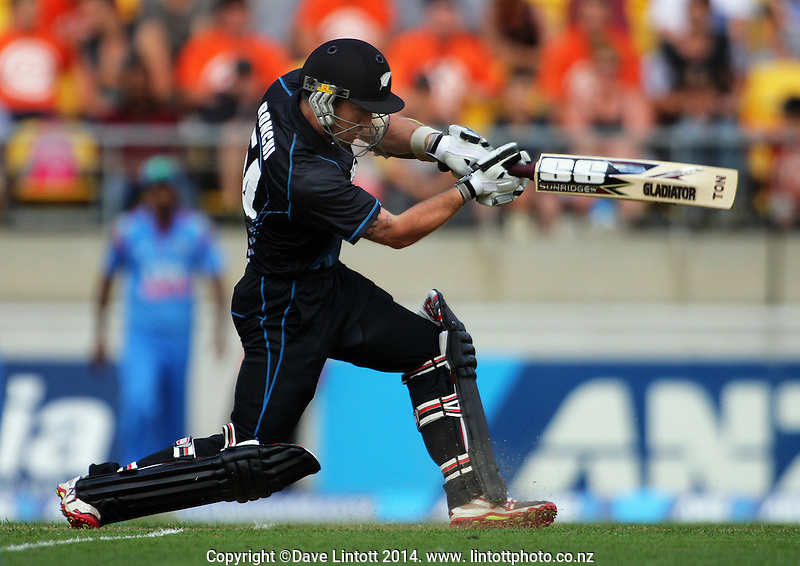 Luke Ronchi in action during the one day international cricket match between the New Zealand Black Caps and India at Westpac Stadium, Wellington, New Zealand on Friday, 31 January 2014. Photo: Dave Lintott / lintottphoto.co.nz