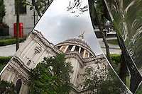 St Paul's Cathedral dome reflected, London, England, UK. 0ne of the largest dome in the world, 111 metres high. Picture by Manuel Cohen