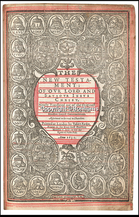 BNPS.co.uk (01202 558833)<br /> Pic: Bonhams/BNPS<br /> <br /> Seventh heaven - A blasphemous 400-year-old bible containing a naughty typo in the Ten Commandments urging people to have affairs has sold for &pound;31,250 at London auction house Bonhams.<br /> <br /> The holy book is one of just a handful remaining copies that were printed in 1631 with a shocking error in it - the Seventh Commandment is missing the word 'not', instead stating 'thou shalt commit adultery'.<br /> <br /> It is not known whether the mistake was a genuine error by publishers Robert Barker and Martin Lucas, the Royal printers, or if it was an act of sabotage by a rival.<br /> <br /> Only nine copes of the controversial bible, known as the Sinner's Bible or the Wicked Bible, exist today making it incredibly sought after by collectors.