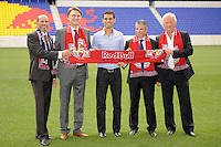 Major League Soccer Commissioner Don Garber, Head of Red Bull Global Soccer Dietmar Beiersdorfer, Rafael Marquez, New York Red Bulls sporting director/GM Erik Soler, and head coach Hans Backe pose for photos prior to a New York Red Bulls press conference at Red Bull Arena in Harrison, NJ, on August 03, 2010.