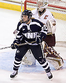 Hannah Armstrong (UNH - 27), Molly Schaus (BC - 30) - The Boston College Eagles and the visiting University of New Hampshire Wildcats played to a scoreless tie in BC's senior game on Saturday, February 19, 2011, at Conte Forum in Chestnut Hill, Massachusetts.