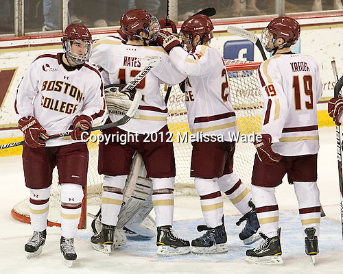 Destry Straight (BC - 17), Danny Linell (BC - 10), Chris Venti (BC - 30), Bill Arnold (BC - 24), Chris Kreider (BC - 19) - The Boston College Eagles defeated the Providence College Friars 7-0 on Saturday, February 25, 2012, at Kelley Rink at Conte Forum in Chestnut Hill, Massachusetts.