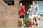 24 August 2014: Stanford assistant coach Nicole Van Dyke (left) with Andi Sullivan (right). The Duke University Blue Devils played the Stanford University Cardinal at Fetzer Field in Chapel Hill, NC in a 2014 NCAA Division I Women's Soccer match. Stanford won the game 2-0.