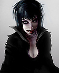 Dark Vampire Woman with cloak and blood